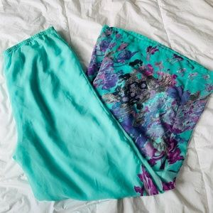 Pants - Turquoise Purple Water Color High Waisted Palazzo